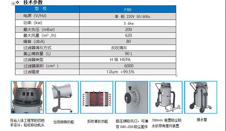工业吸尘器技术参数