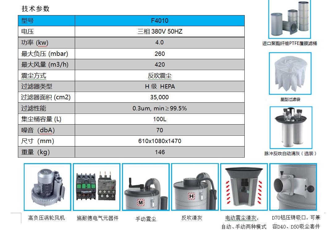重型工业吸尘器技术参数